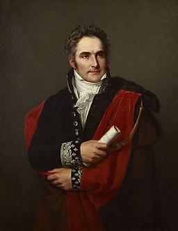 """Portrait de Casimir Perier (1777-1832),  Représenté en pair de France, tenant à la main """"l'Opinion sur le budget"""", rapport destiné à contrer la politique financière de Villèle. Palais de Versailles"""